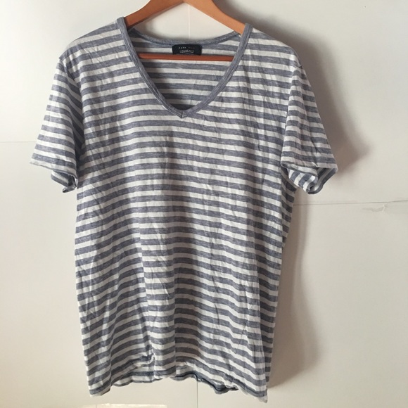 Zara Other - Zara Man Striped V-Neck T-Shirt